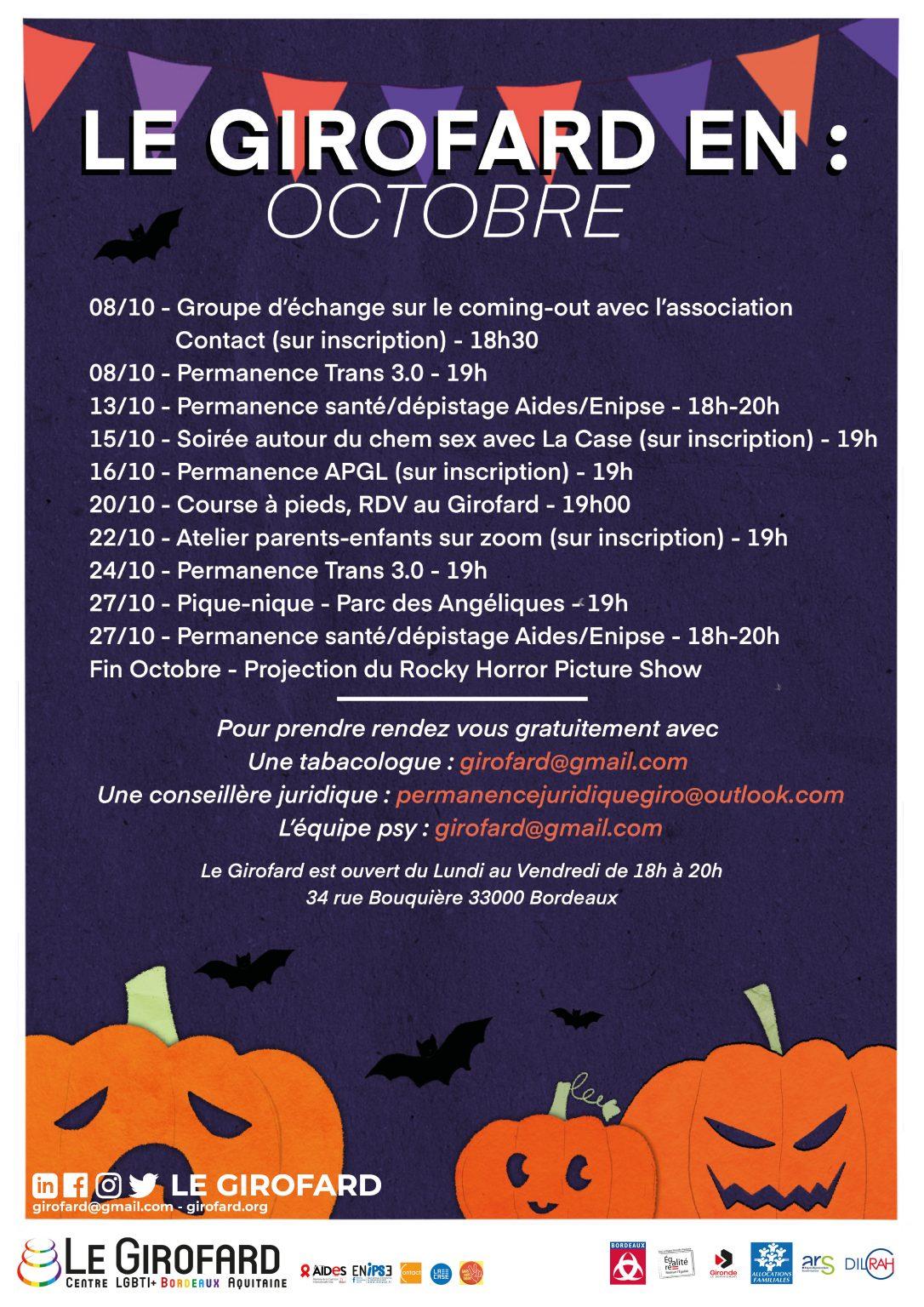 [Activités] Programme Octobre 2020 – Girofard