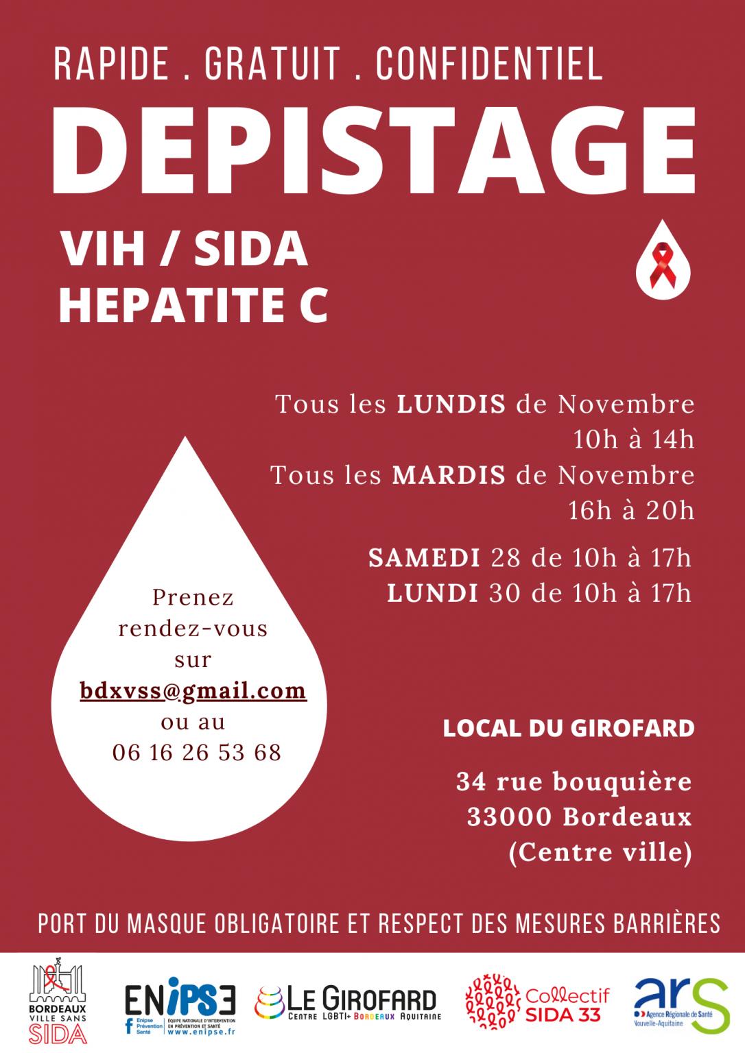 [Santé] Dépistage TROD VIH – SIDA – Novembre 2020